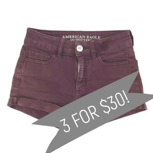 American Eagle Hi-Rise Shortie Shorts Red Size 00